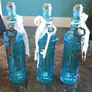 Antique Aqua Blue Glass Bottles with Key Charms